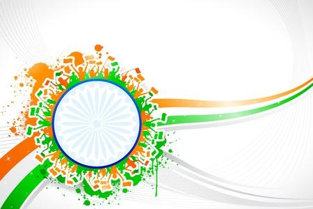 drapeau inde: illustration des acclamations indien sur fond abstrait tricolores