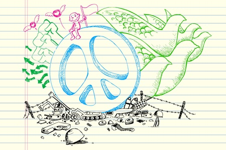 peace and love: illustration of peace concept in doodle style