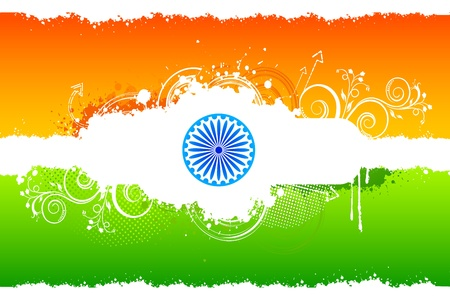 illustration of abstract floral Indian flag with grunge Stock Illustration - 11779490