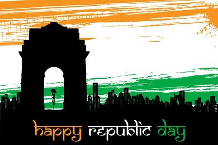bandera de LA INDIA: ilustración del monumento indio en abstracto tricolor fondo sucio Foto de archivo