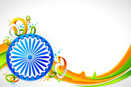 illustration of Ashok wheel on abstract tricolor Indian flag background Illustration