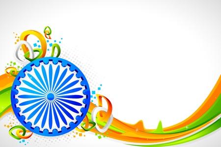 indianin: ilustracja koła Ashok na abstrakcyjnym tle indyjskiej flagi tricolor