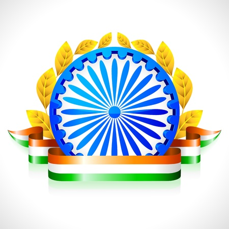 india culture: illustration of Indian flag color ribbon with Ashok wheel Illustration