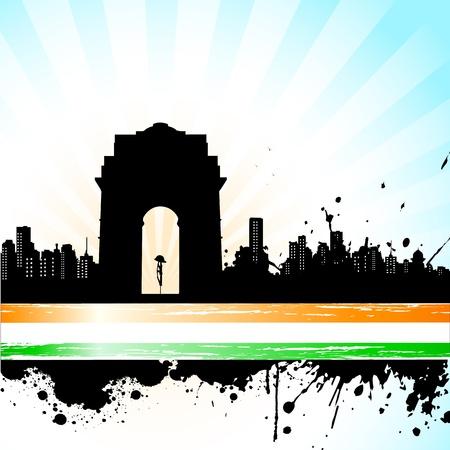 インド: 抽象的な三色の背景上のインドの記念碑の図