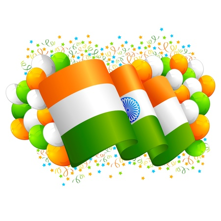 illustration of tricolor balloon with Indian flag Vector