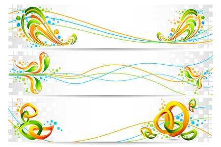 asian business people: illustration of colorful banner in Indian flag tricolor with abstract design