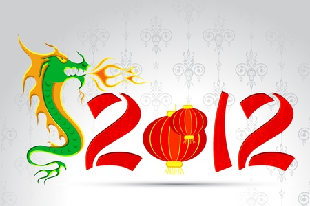 illustration of golden lantern with dragon on chinese new year card Vector