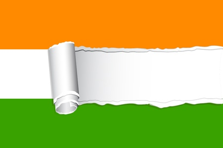 illustration of torn paper style Indian Flag Vector