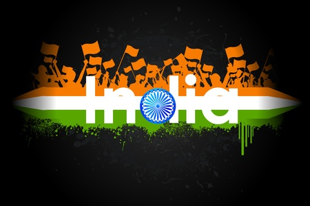 republic day: illustration of Indian citizen waving flag on tricolor flag Illustration