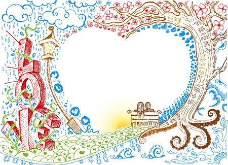 doodle art: illustration of colorful love card in doodle style