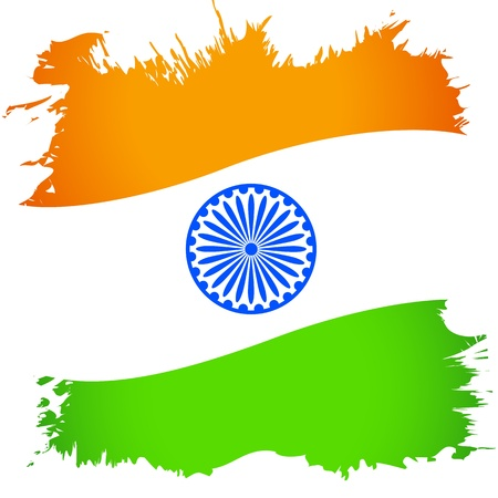illustration of abstract Indian flag with grunge Vector