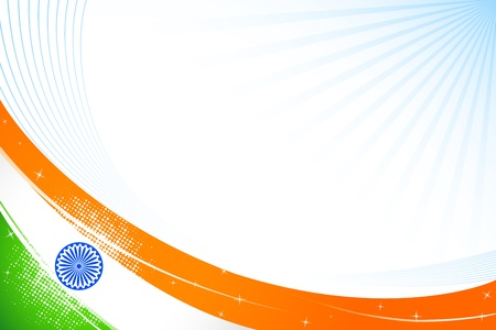 illustration of tricolor Indian flag on abstract background Vector