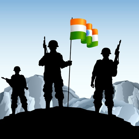 military silhouettes: illustration of soldier standing on hill with Indian flag Illustration