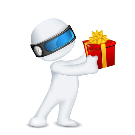 three gift boxes: illustration of 3d man in vector fully scalable standing with gift box