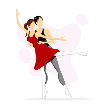 illustration of couple performing ballet dance on abstract background Vector