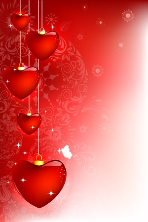 illustration of hanging heart on abstract floral background Stock Illustration - 11779544