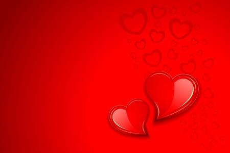 heart month: illustration of pair of heart on love background Illustration