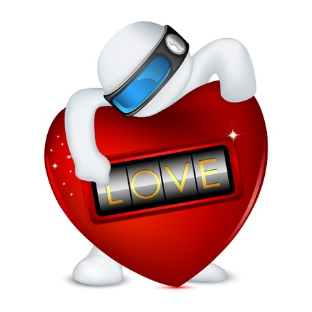 illustration of 3d man in vector fully scalable standing with love lock Vector