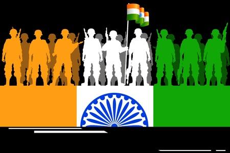 bandera de la india: ilustración de la bandera tricolor de la formación de soldados de la India Vectores