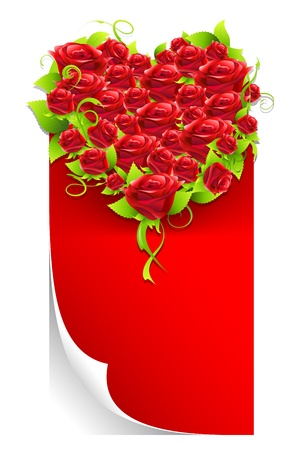 truelove: illustration of red rose heart on paper with copy space Illustration