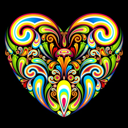 truelove: illustration of heart formed by colorful abstract swirl Illustration