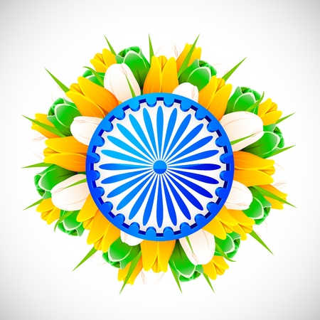 illustration of bunch of tulip flower in color of indian flag with Ashok wheel illustration