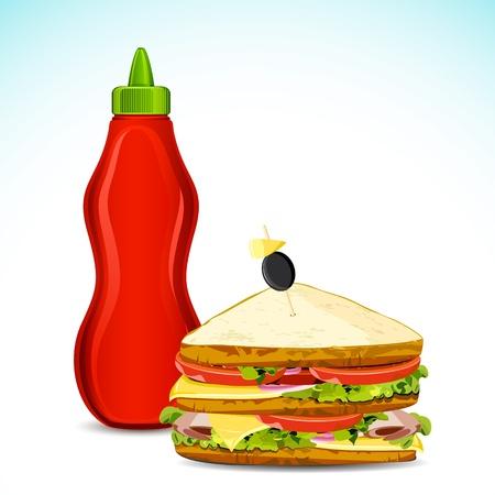 mahonesa: ilustración de la botella de salsa y un sándwich
