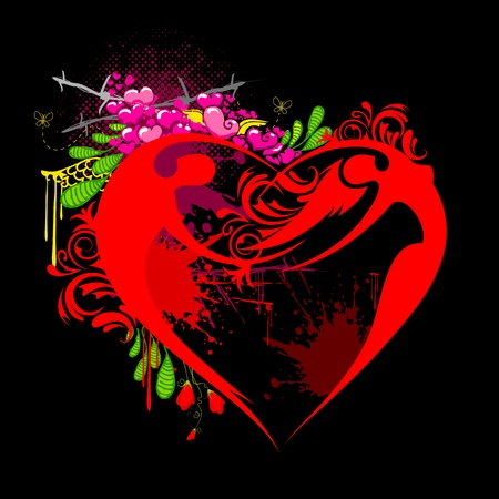 illustration of male and female forming heart shape on valentine background Vector