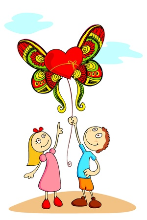 truelove: illustration of boy and girl holding love balloon with wings