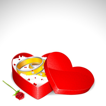 jewel box: illustration of pair of engagement ring on heart shape gift box