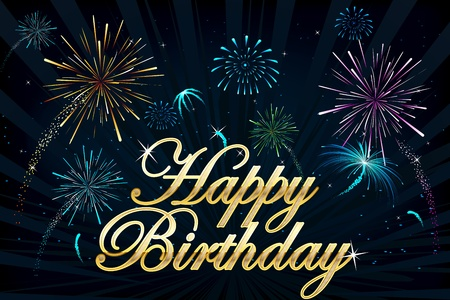 happy holidays text: illustration of happy birthday text on firework backdrop Illustration