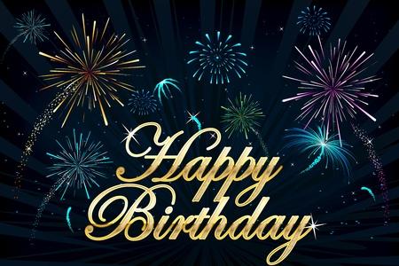 ilustración de texto feliz cumpleaños en fondo de fuegos artificiales