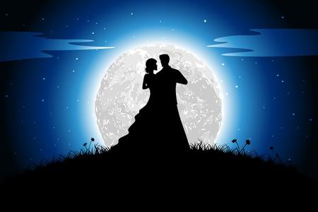ilustraci�n de la pareja en el estado de �nimo rom�ntico a la vista la noche con tel�n de fondo la luna