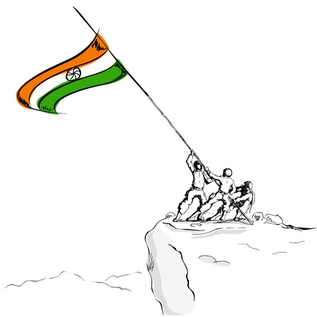 army background: illustration of soldier raising Indian flag on hil