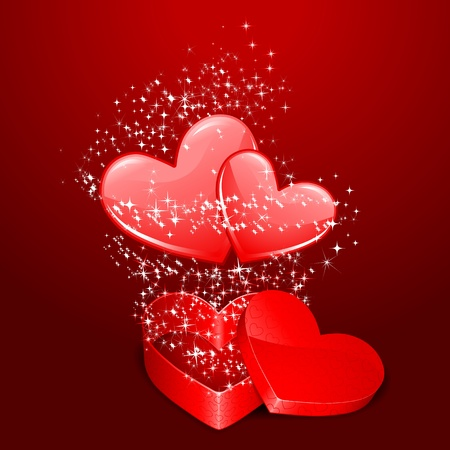 illustration of pair of heart coming out from gift box with sparkiling Stock Vector - 11873916