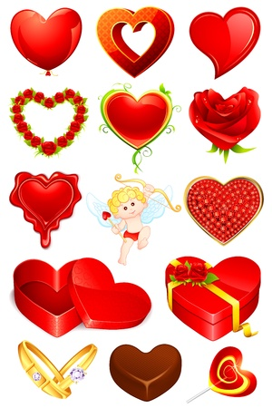 illustration of set of love element for designing Vector