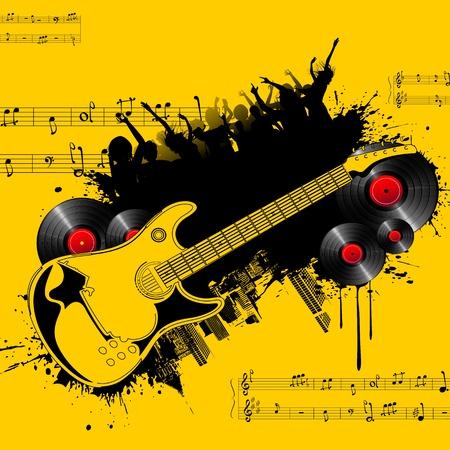 musica electronica: la ilustraci�n del cartel de fiesta con guitarra y multitud de espectadores