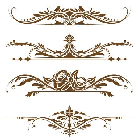 illustration of set of vintage design elements for page border Vector