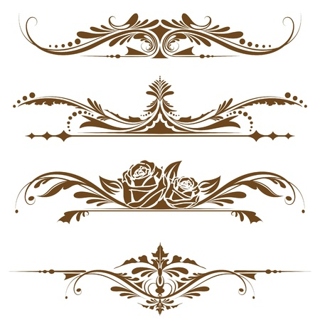 marriage certificate: illustration of set of vintage design elements for page border Illustration