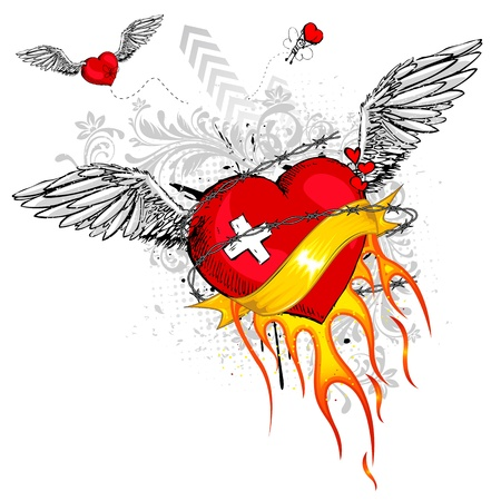 graffiti background: illustration of flying heart with flame and grungy element Illustration