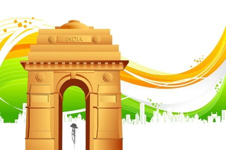 インド: 抽象的なフラグの三色背景にインド門のイラスト  イラスト・ベクター素材