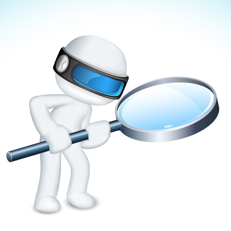 investigating: illustration of 3d man in vector fully scalable with magnifying lens
