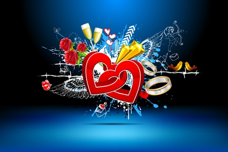 illustration of abstract love background with heart and grunges Vector