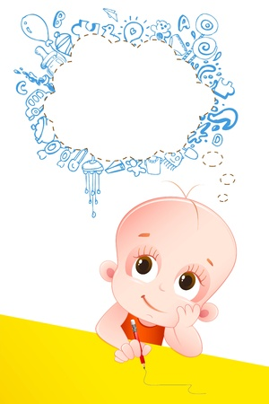 baby drawing: illustration of baby thinking with speech bubble on head