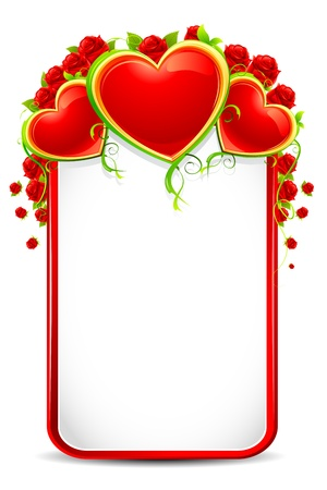 illustration of love card with rose and heart on white background