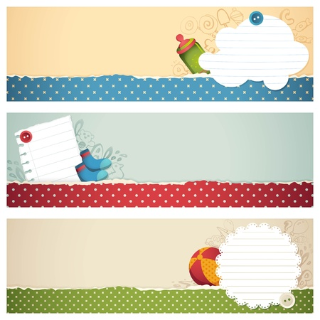announcements: illustration of set of banner for kids with different element Illustration