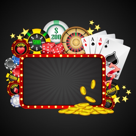 card game: illustration of different casino object with board