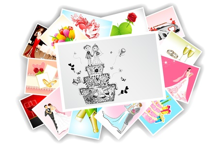 illustration of collection of different wedding photograph Vector