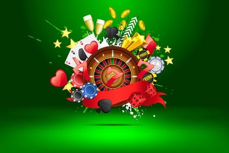 ruleta de casino: ilustración de objetos de casino en fondo abstracto Vectores
