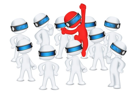 illustration of red 3d man in vector fully scalable jumping out in crowd Vector